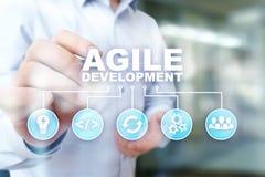 Sviluppo agile, software e concetto di programmazione di applicazione sullo schermo virtuale fotografia stock