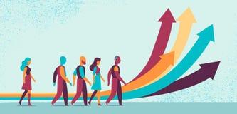 Sviluppo del futuro sostenibile per la gente illustrazione di stock