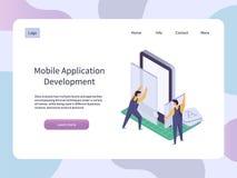 Sviluppo di applicazioni mobile Smartphone app della costruzione del lavoratore Illustrazione isometrica di vettore di tecnologia Fotografie Stock