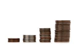 Sviluppo di soldi con lo spazio della copia isolato su bianco immagini stock