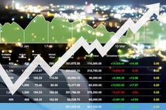 Sviluppo economico finanziario dell'introduzione sul mercato di indice di borsa Immagini Stock