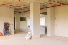 sviluppo interno di piano della costruzione del cantiere su alloggio con lo spazio della copia Immagine Stock Libera da Diritti