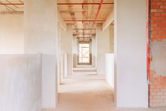 sviluppo interno di piano della costruzione del cantiere su alloggio con lo spazio della copia Fotografia Stock