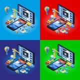 Sviluppo mobile di App, gruppo con esperienza 3d piano isometrico Immagine Stock Libera da Diritti