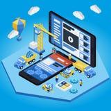 Sviluppo mobile di App, gruppo con esperienza 3d piano isometrico Fotografia Stock