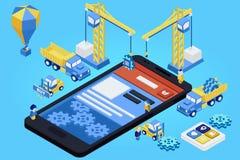 Sviluppo mobile di App, gruppo con esperienza 3d piano isometrico Immagini Stock Libere da Diritti