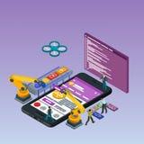 Sviluppo mobile di App, gruppo con esperienza Telefono nero isometrico piano 3d Robot del manipolatore robotizzato Fotografie Stock