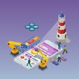 Sviluppo mobile di app Telefono isometrico piano 3d Immagine Stock