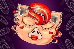 Svin i cancan för kabaretdräktdans i fjädrar vektor illustrationer