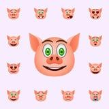 Svin, i f?rv?nat, leendeemojisymbol Universell upps?ttning f?r svinemojisymboler f?r reng?ringsduk och mobil vektor illustrationer
