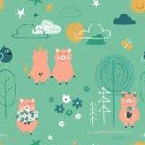 Svin i Forest Seamless Pattern royaltyfri illustrationer