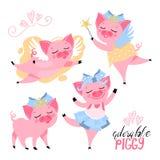 Svin i krona, med vingar, felikt piggy, ballerinauppsättning vektor illustrationer