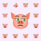 Svin i neutral emojisymbol Universell upps?ttning f?r svinemojisymboler f?r reng?ringsduk och mobil stock illustrationer