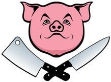 Svin, kniv och köttyxa Royaltyfri Bild