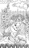 Svin med en bukett av grönsaker Royaltyfri Illustrationer