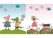 Svin och krokodil, flicka och hund Arkivfoton