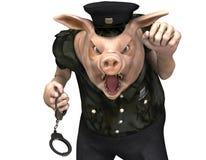Svin som en polis Arkivfoto