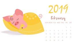 Svin som sover vektorn cartoon Isolerad konst Plan Februari kalender 2019 vektor illustrationer