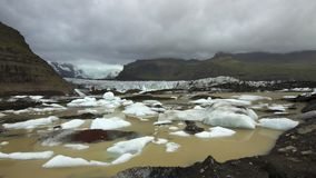 Svinafelljokull glacier with iceberg lagoon. royalty free stock photography