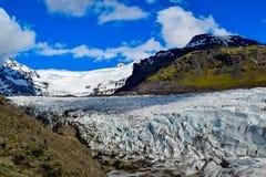 Svinafellsjokull冰川, Svinafell,冰岛 免版税库存照片