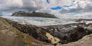 Svinafellsjokull in Iceland. Big panorama of svinafellsjokull glacier tongue, Iceland Stock Images