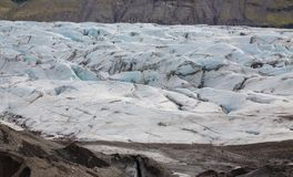 Svinafellsjokull in Iceland. Side view of svinafellsjokull glacier tongue and ground, Iceland Royalty Free Stock Photo