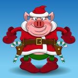 Svincowboy för glad jul med godisen royaltyfri illustrationer