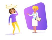 Svindelvektor cartoon Isolerad violett färg för konstkvinna stock illustrationer