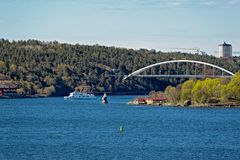 Svindersviksbron Svindersviken most, Nacka, Szwecja Obraz Stock