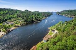 Svinesund fjord with new bridge Stock Image