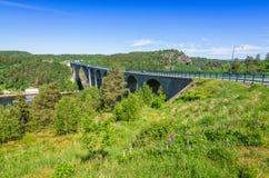 Svinesund old bridge in summer scenery Stock Photos