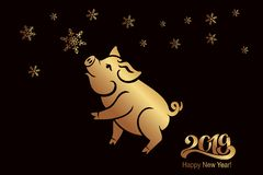 Svinet är ett symbol av det 2019 kinesiska året Hälsningkort, affisch också vektor för coreldrawillustration 10 eps royaltyfri illustrationer
