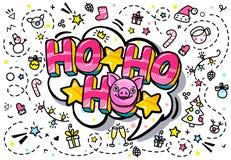 Svinet är ett symbol av 2019 nya år Lycklig skela svinframsida på rosa bakgrund med Ho-ho-ho meddelandet i stil för popkonst royaltyfri illustrationer
