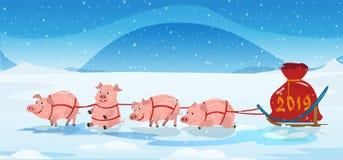 Svinslädelaget och chrismas hänger löst med nummer 2018 vinter för blåa snowflakes för bakgrund vit royaltyfri illustrationer