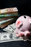 svinsparbössa med kassa, räkningar dollar, euro, besparingar, lagring, rikedom stor vinst Arkivbild