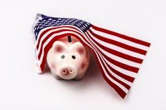 Svinsparbössa och USA flagga Royaltyfri Foto