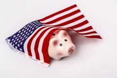 Svinsparbössa och USA flagga Arkivfoton