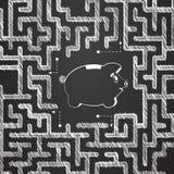 Svinspargris i labyrint Lösning av problem äganderätt för home tangent för affärsidé som guld- ner skyen till Ledset söka efter e Royaltyfria Bilder