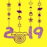 Svinsymbolsvektorn isolerade 2019 lyckligt nytt år Blå backgraund royaltyfri illustrationer
