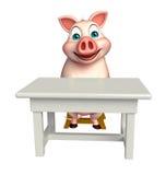 Svintecknad filmtecken med tabellen och stol Royaltyfri Foto