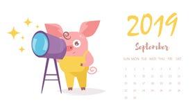 Svinvektor cartoon Isolerad konst på vit bakgrund September 2019 kalender royaltyfri illustrationer