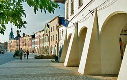 Svitavy square 01. Svitavy town main square with renaissance arcades - Czech republic Royalty Free Stock Photo