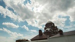 Sviyagsk, Rússia, o 14 de julho de 2017, Ilha-cidade Sviyagsk, a catedral ortodoxo - igreja de trindade santamente - tempo-lapso filme
