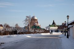 Sviyazhsk. Ioanno-Predtechensky Women`s Monastery. Trinity Church and the Cathedral of Our Lady of Joy of All Who Sorrow. Tatarstan. Russia Stock Photography