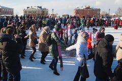 Sviyazhsk, Russia - 26 February 2017: The pancake week - Russian ethnic carnival, Maslenitsa Shrovetide the crowd dances Stock Photos
