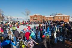 Sviyazhsk, Russia - 26 February 2017: The pancake week - Russian ethnic carnival, Maslenitsa Shrovetide the crowd dances Royalty Free Stock Photography