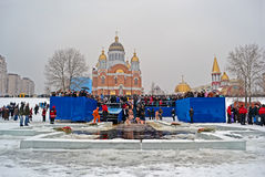 在Svjato波克罗夫斯基大教堂,基辅,乌克兰附近的突然显现(Kreshchenya)早晨 库存照片