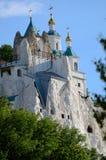 Svjatogorsk St. Nicholas Church auf dem Felsen Nahaufnahme Stockfoto