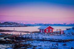 SVOLVAER, LOFOTEN海岛,挪威- 2018年4月10日:桃红色天空室外看法与红色rorbu渔大厦的在岩石 免版税库存图片