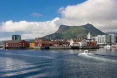 Svolvaer harbor in Lofoten in Norway stock images